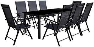 9 Piece Folding Outdoor Dining Set Aluminium Black ... - Amazon.com
