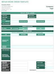 Free Work Order Templates Work Order Tracking Spreadsheet