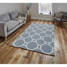 accessories endearing light blue area rug acrylic material hand made tufted technique modern design geometric pattern