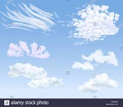 Set Of Different Types Of Clouds On Daytime Sky Vector Illustration