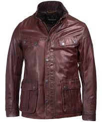 men s barbour international john leather jacket red brown