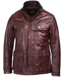 men s barbour international john leather jacket red brown
