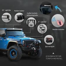 Jeep Jk Light Bar Wind Noise Us 194 21 22 Off 52 300w Headlight Led Light Bar Kit 4
