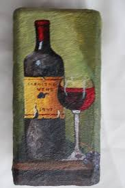 wine bottle and glass painting on a brick by artisttoostudios 50 00