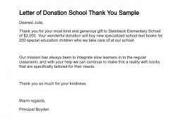 Donation Letter Template For Schools Ideas Collection Donation Thank