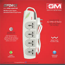 buy gm g force outlet spike guard master switch buy gm 3056 g force 4 1 outlet spike guard master switch indicator international sockets and surge protector online at low prices in