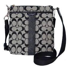 Coach Signature 12cm North South Swingpack F51157 Black White  100.00  Coach