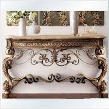 A Continental Iron Console Tables Hall Half Roundtable Entrance Door  Wall Cabinet Hall Table Sets