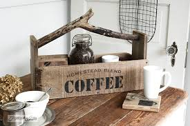 reclaimed wood toolbox and coasters for coffee made with homestead blend coffee stencil from