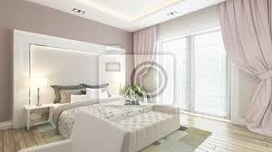 Elegant Fototapete Ein 3D Rendering Der Modernen Schlafzimmer Mit Rosa Wand
