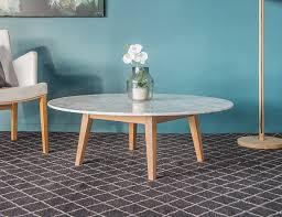 copenhagen italian carrara marble solid oak round coffee table