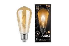 Светильник <b>Лампа Gauss LED Filament</b> ST64 E27 6W Golden ...