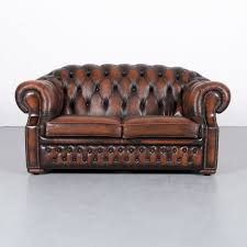 chesterfield sofa orange brown two seat couch genuine leather vintage 6034 vinterior