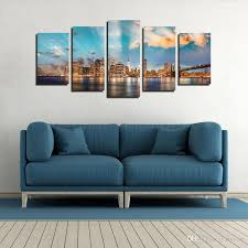2018 city skyline wall art manhattan city wall decor canvas prints beautiful night sight wall paintings for home decoration no frame from byxart