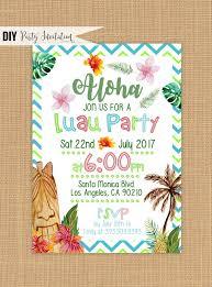 Luau Invitation Printable Luau Birthday Invitations Etsy