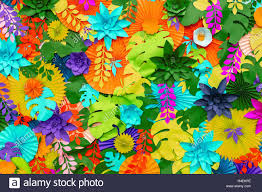 Paper Flower Background Colorful Tropical Paper Flower Background Multicolored Flowers And