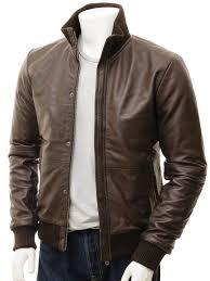 men s brown leather er jacket cheriton front