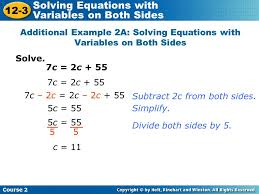 additional example 2a solving equations with variables on both sides