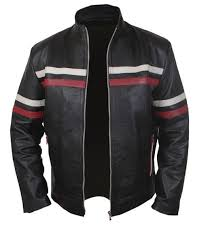 black leather jacket with red and white strips