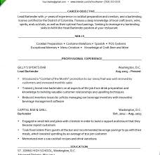 bartender objective bartender resume career objective on examples of resumes example
