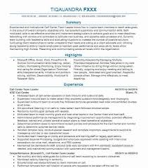 Call Center Team Leader Objectives Resume Objective