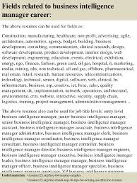 ... 16. Fields related to business intelligence manager ...