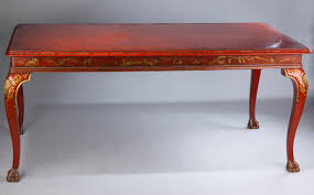antique red chinoiserie dining table