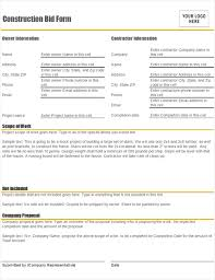 Bid Form For Construction Construction Bid Form