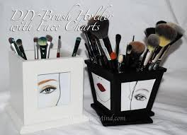 diy makeup brush holder with face charts
