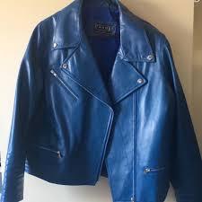 balmain inspired blue leather biker jacket women s fashion clothes on carou