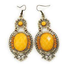 victorian style yellow acrylic bead crystal chandelier earrings in antique gold tone 80mm l