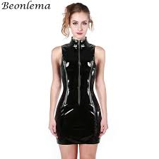 beonlema black wetlook pvc corsage female high neck corset y zipper corset dress langerie feminina
