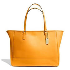 Coach Saffiano Leather Medium City Tote Bag 23576 Marigold