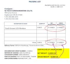 Letter Of Origin Commercial Document Discrepancies Packing List Discrepancies