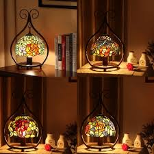 tiffany dragonfly flower g night light stained glass 1 light table light for study
