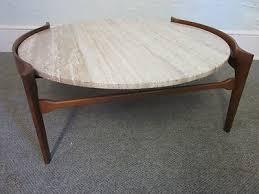 mid century modern walnut round coffee