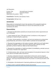 Perinatal Nurse Job Description Position Title Perinatal Nurse Consultant