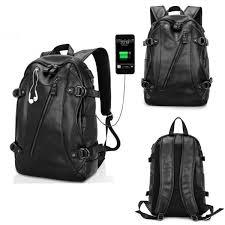 men faux leather usb laptop bag backpack school bag travel satchel newchic