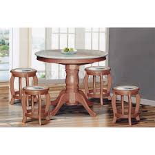 dn888 round marble dining table 3 5ft 6 stools marble seat top