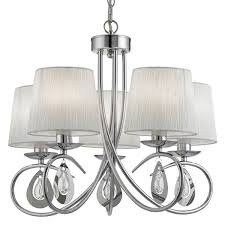 angelique chrome 5 light ceiling fitting with ruffled shades 1025 5cc
