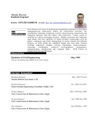 Resident Engineer Sample Resume