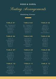Teal And Gold Elegant Wedding Seating Chart Templates By Canva