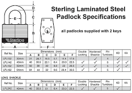 Padlock Size Chart Sterling 40mm Laminated Steel Padlock