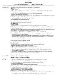 Technical Support Level Resume Samples Velvet Jobs