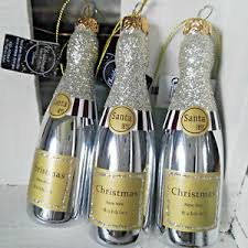 3 X Glas Champagner Flasche Sekt Glitzer Silber Baumschmuck