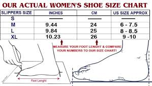 Womens Slipper Size Chart Womens Casual Massage Slippers Wide Feet House Shoes