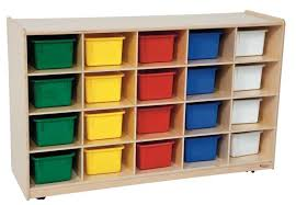 Wood Designs Cubby Storage Cabinet with 20 Assorted Color Trays