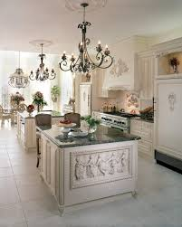victorian kitchen lighting. White Victorian Kitchen With Relief Island Grey Marble Top, Wooden Cabinet, Lighting O