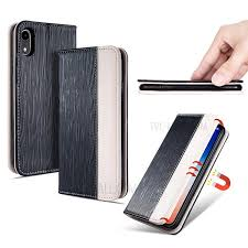 toothpick texture auto absorbed leather card holder case for iphone xr 6 1 inch black