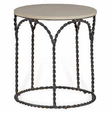 bradley rustic braided iron french country cream limestone side end table kathy kuo home